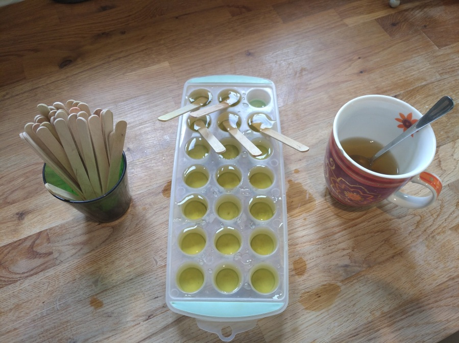 ice cube tray with lollies sticks and tea