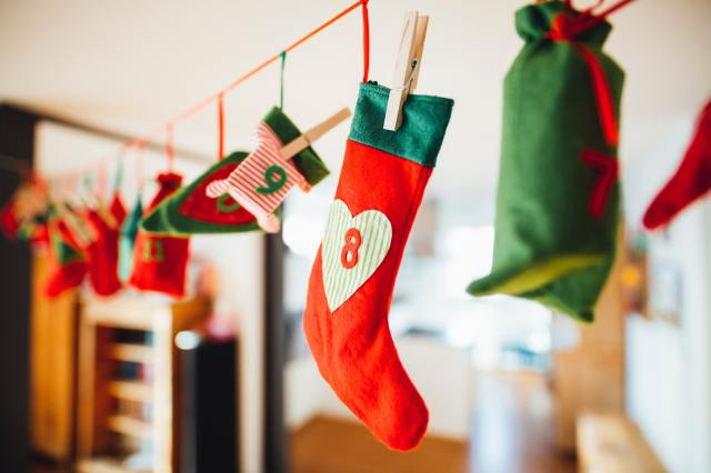 Eco advent calendar hanging on a line