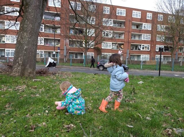 children exploring urban verge