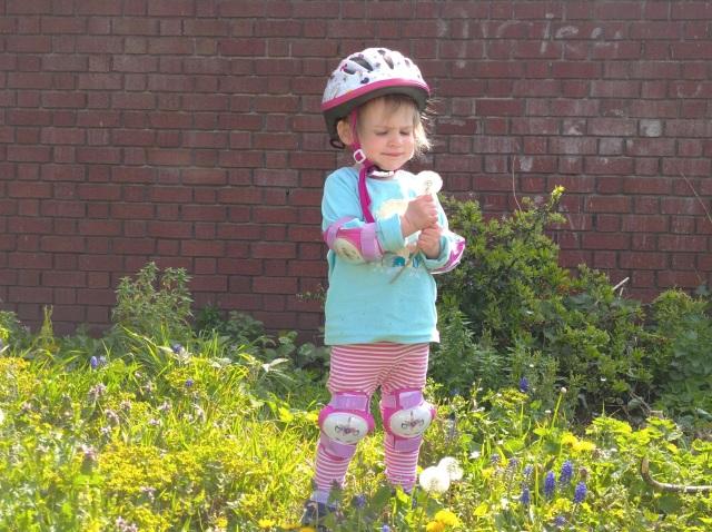 child blowing dandelion clock on verge