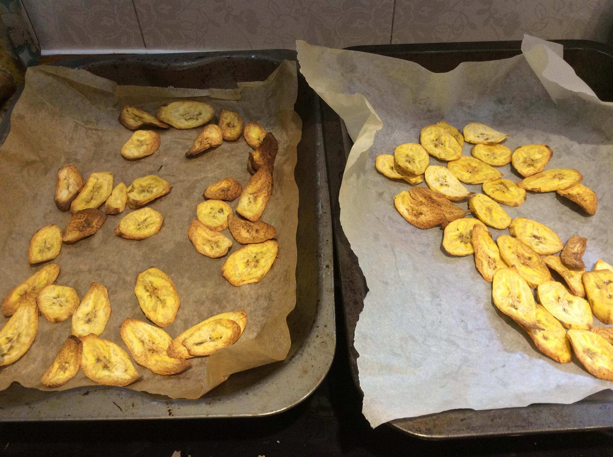 plantain crisps on baking tray
