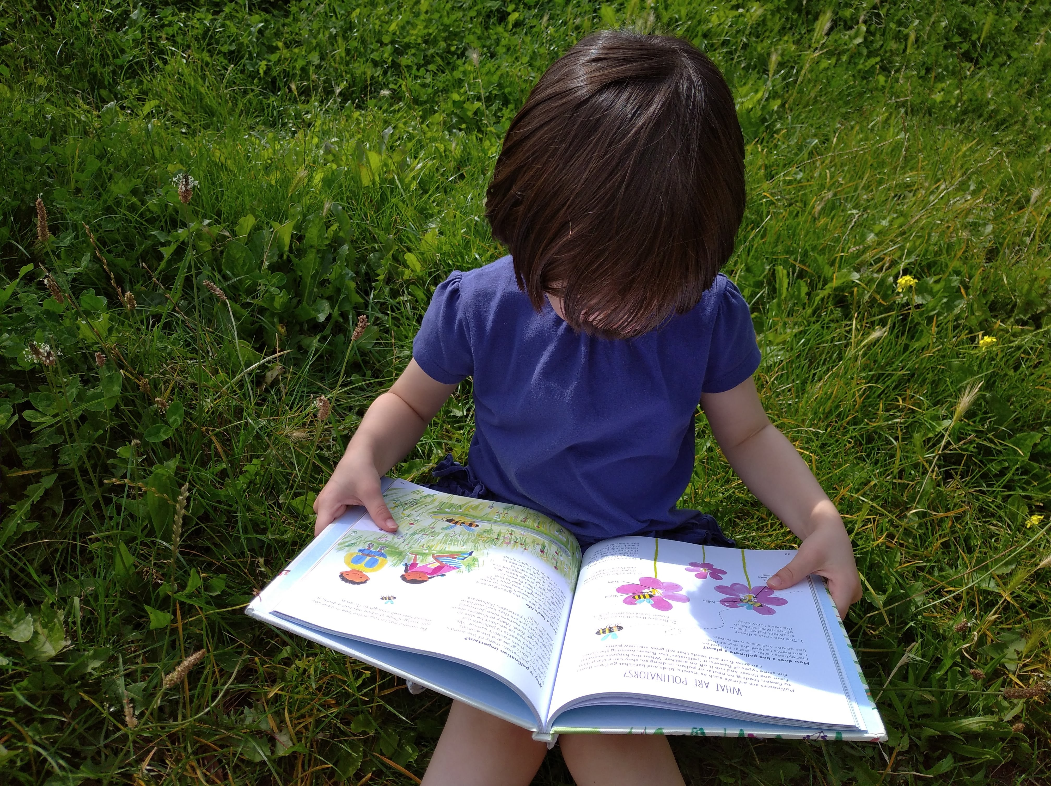 child reading nature book in park